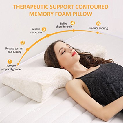 Contoured Memory Foam Pillow With Two Soft Removable